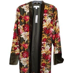 New York & Company Velvet Trim Floral Kimono